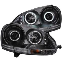 ANZO 2006-2009 Volkswagen Rabbit Projector Headlights w/ Halo Black (CCFL)